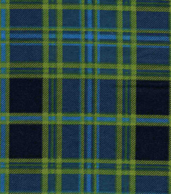 """Snuggle Flannel Fabric 42""""-Navy & Green Plaid"""