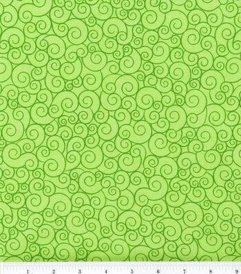 "Keepsake Calico Cotton Fabric 44""-Swirl Lime Garden"