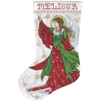 """Angel Of Joy Stocking Counted Cross Stitch Kit-17"""" Long 14 Count"""