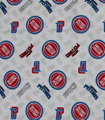"Detroit Pistons Cotton Fabric 44""-Logo Toss"