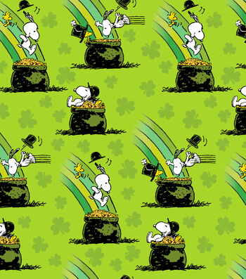 St. Patrick's Day Print Fabric 44''-Green with Peanuts Pot of Gold