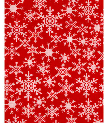 """Holiday Showcase™ Christmas Cotton Fabric 43""""-Snowflakes Red"""