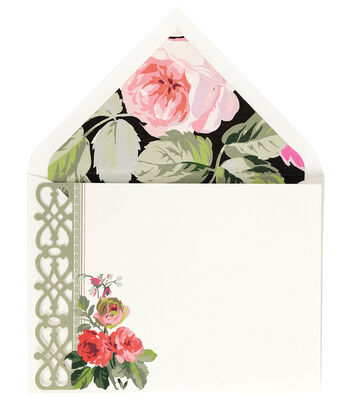 Anna Griffin Grace Blk Floral Corr Card