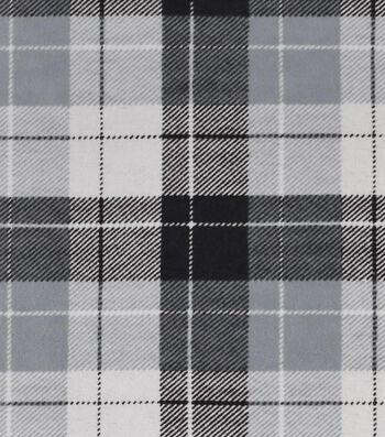 "Snuggle Flannel Fabric 42""-Gray Plaid"