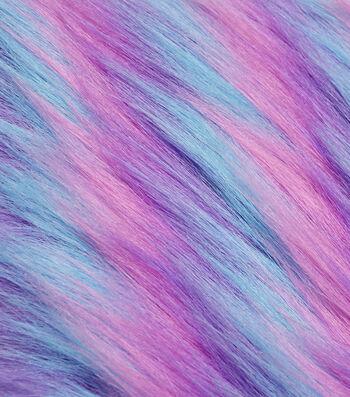 "Fashion Faux Fur Fabric 59""-Blue, Purple & Pink"