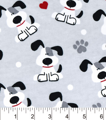 """Snuggle Flannel Fabric 42""""-Pups And Hearts"""