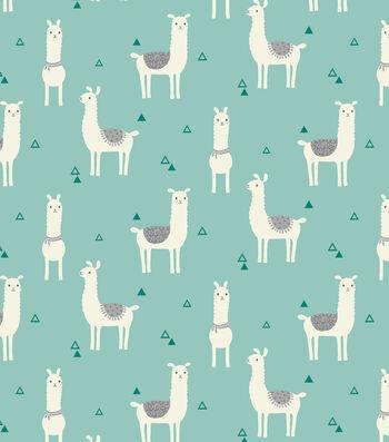 "Snuggle Flannel Fabric 43""-Tossed Llama Teal"