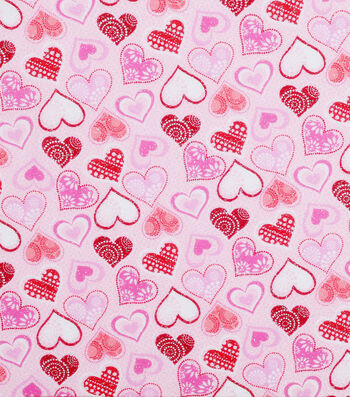 Valentine's Day Glitter Fabric 43''-Patterned Hearts