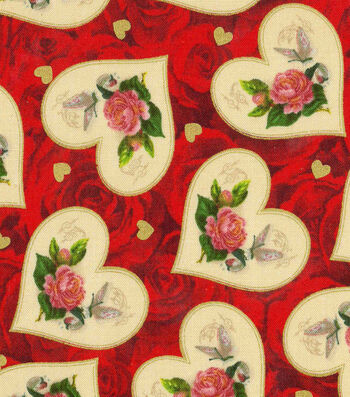 Valentine's Day Fabric 43''-Roses with Metallic Vintage Hearts