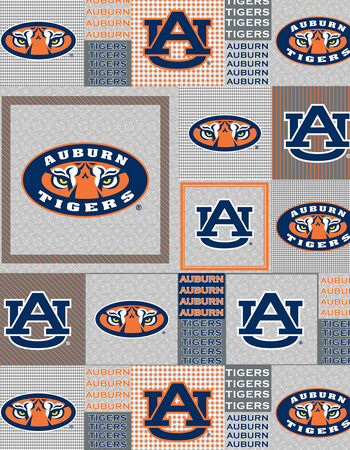 "Auburn University Tigers Fleece Fabric 58""-Gray Block"