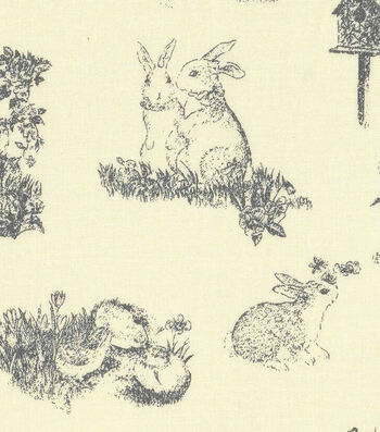Easter Cotton Toile Fabric 43''-Yellow with Bunny