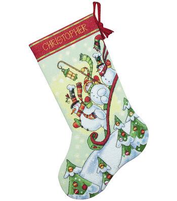 Dimensions Counted Cross Stitch Kit Sledding Snowmen Stocking