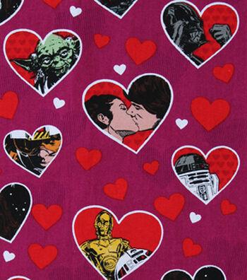 """Star Wars Cotton Fabric 43""""-Valentine Hearts"""