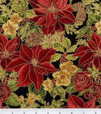 """Maker's Holiday Cotton Fabric 44""""-Poinsettias"""