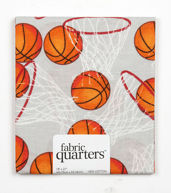 Fabric-Quarters Assorted Fabric-Basketball