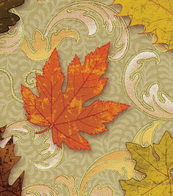 """Harvest Cotton Fabric 44""""-Scroll Leaves"""