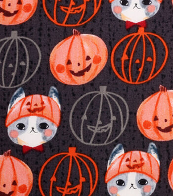 "Halloween Cotton Fabric 43""-Kitty Pumpkin Hat"