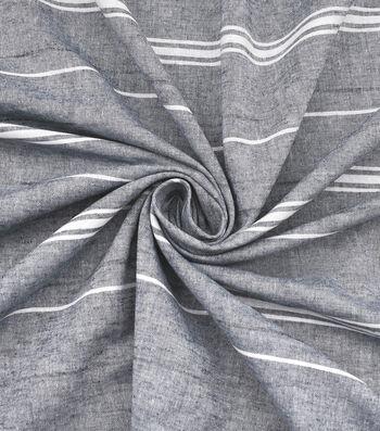 Linen & Linen Look Fabric 57''-Stripes on Gray