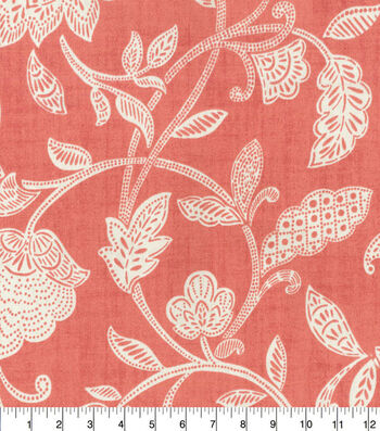 Waverly Upholstery Fabric 54''-Stencil Vine on Coral