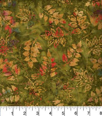 "Legacy Studio™ Indonesian Batiks Cotton Fabric 44""-Tossed Leaves Green"