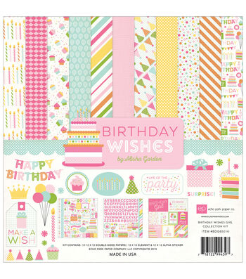 Echo Park Paper Company Birthday Wishes Girl Collection Kit 12''x12''