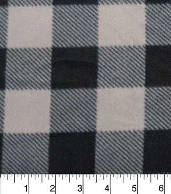 "3 Yard Pre-Cut Anti-Pill Fleece Fabric 57""-Grey Black Buffalo Check"