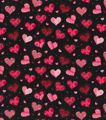 """Holiday Inspirations™ Valentine's Day Fabric 43""""-Black with Heart"""
