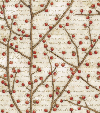 "Premium Cotton Quilt Fabric 43""-Berry Vines"