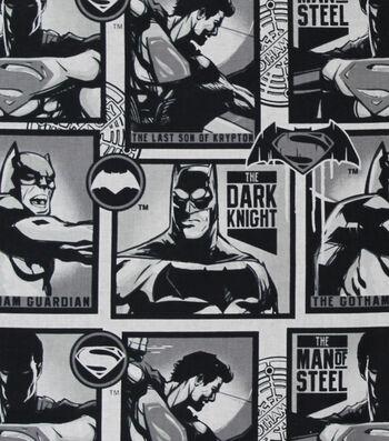 "DC Comics Cotton Fabric 44""-Man of Steel & Dark Knight"