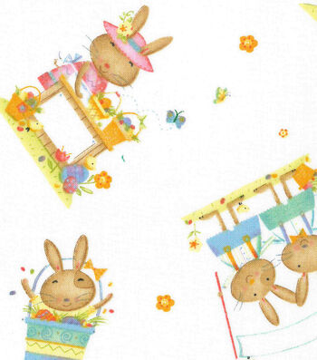 Easter Cotton Fabric 43''-Playful Bunnies