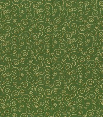 "Keepsake Calico™ Holiday Cotton Fabric 43""-Green Metallic Scrolls"