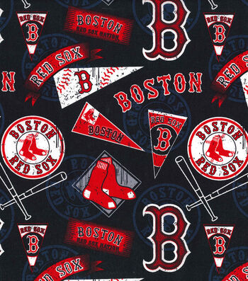 "Boston Red Sox Cotton Fabric 58""-Vintage"