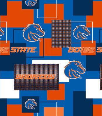 Boise State University Broncos Cotton Fabric 43''-Modern Block