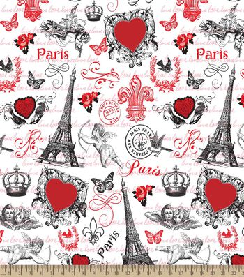 From Paris with Love Print Fabric