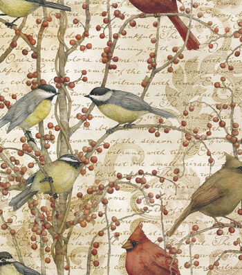 "Legacy Studio™ Cotton Fabric 43""-Winter Bird Vine"