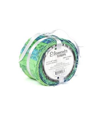 "Jelly Roll Cotton Fabric 2.5""-Blue & Green"