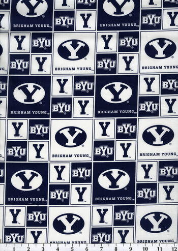 """Brigham Young University Cougars Cotton Fabric 43""""-Block"""