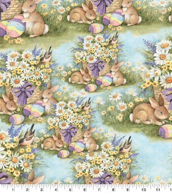 "Susan Winget Easter Cotton Fabric 43""-Garden Bunnies"