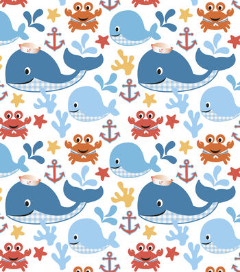 Nursery Cotton Fabric 44''-Sea Buddies