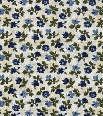 "Vintage Cotton Fabric 43""-Mini Tossed Floral Blue"