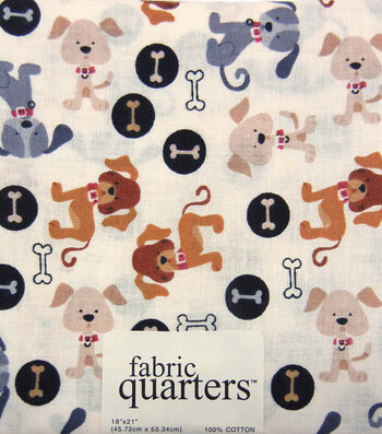 Fabric-Quarters Assorted Fabric-Dog