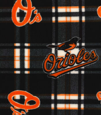 "Baltimore Orioles Fleece Fabric 58""-Plaid"