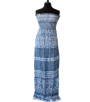 """Style In An Instant Rayon Challis Smocked Fabric 53""""-Blue Tile"""