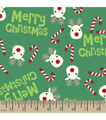 Christmas Print Fabric-Reindeer Candy
