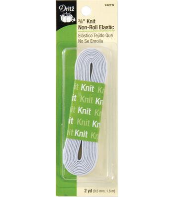 Dritz Knit Non-Roll Elastic 0.38''x2 yds.-White