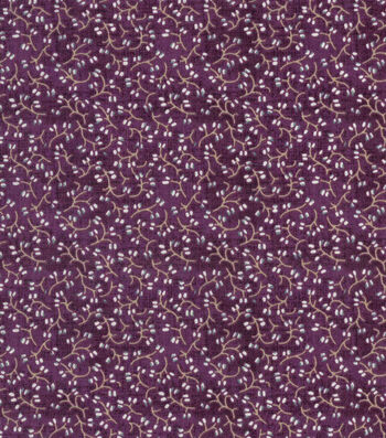 "Vintage Cotton Fabric 43""-Tulip Vines Purple"