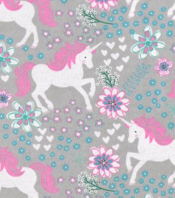 """Snuggle Flannel Fabric 42""""-Magic Unicorns Gray"""