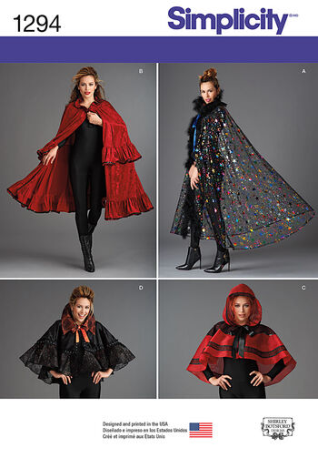 Simplicity Pattern 1294OS Misses' Capes-One Size