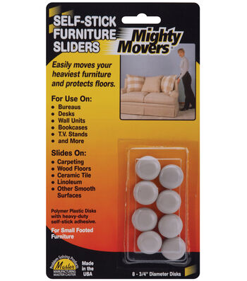 """Mighty Movers Self-Stick Furniture Sliders .7"""" Round"""