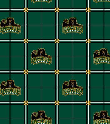 "Baylor University Bears Flannel Fabric 42""-Plaid"